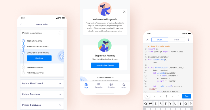 Learn Python app by Programiz design showcase.