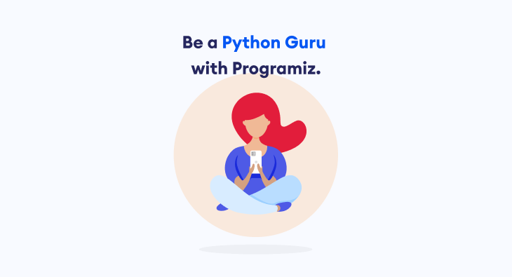 "Final ad design for Positive framing with copy ""Be a Python Guru with Programiz"""