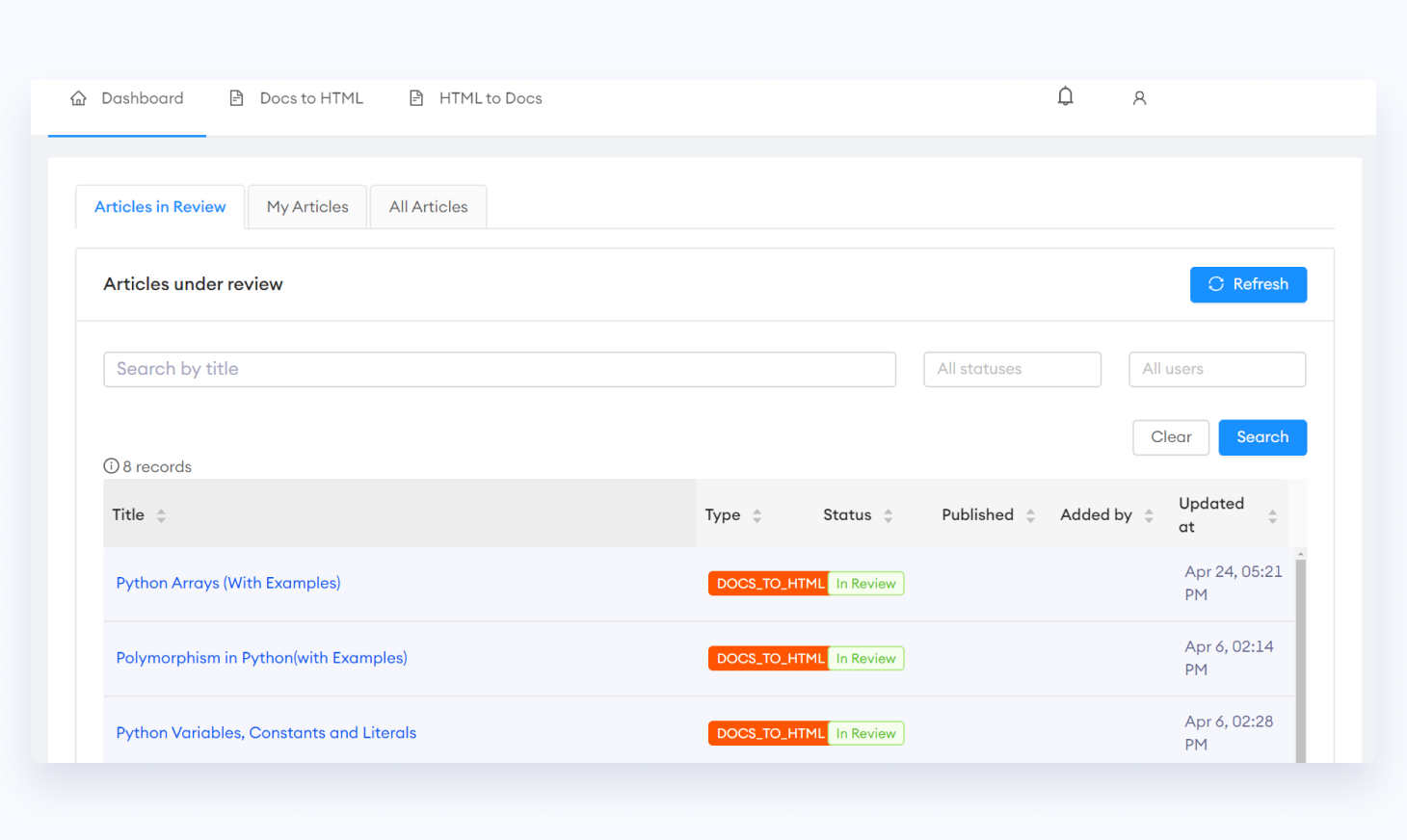 List View Interface of Content Workflow System