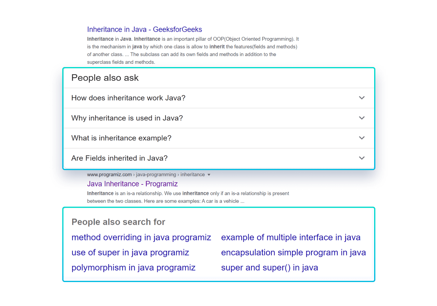 Showing People also ask and People also search for section for Java inheritance