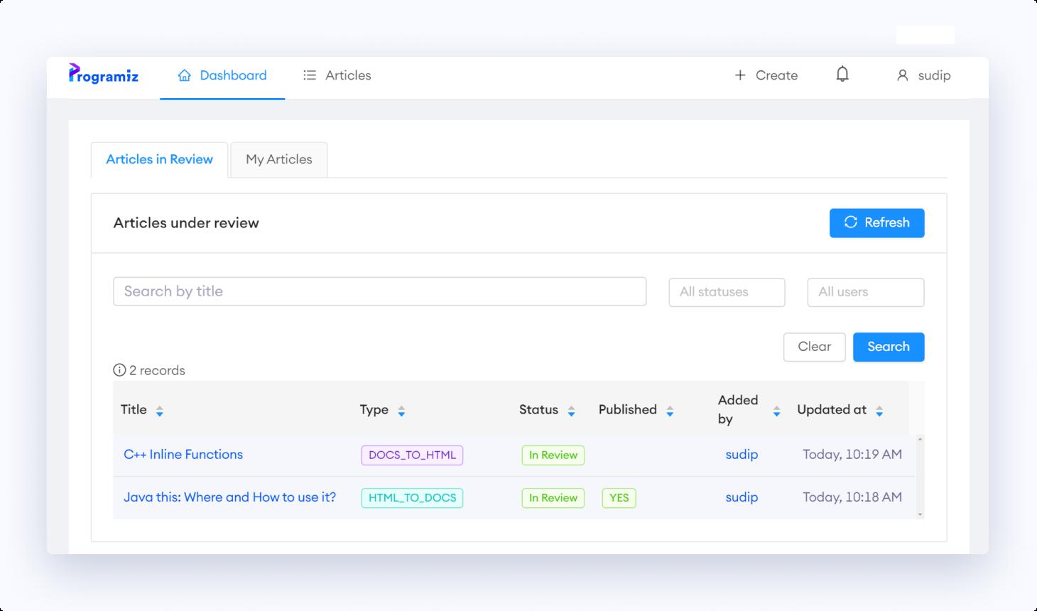 Programiz inhouse content workflow system