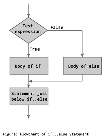 Flowchart of if...else statement in C Programming