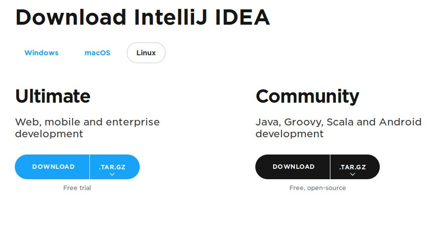 IntelliJ IDEA download page for Linux