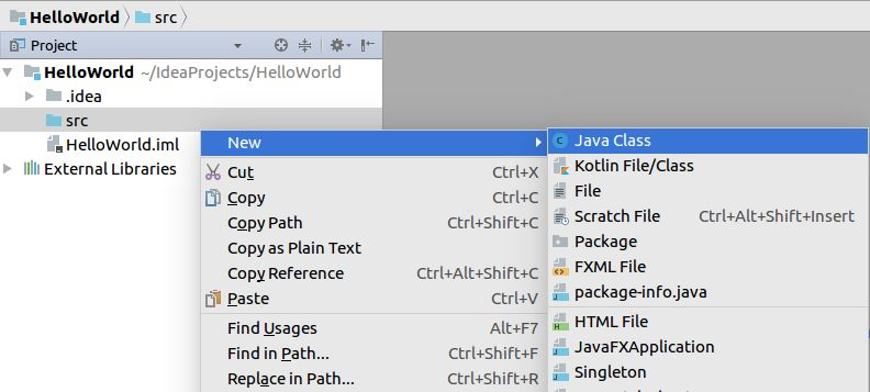 Creating new Java class in IntelliJ IDEA for Linux